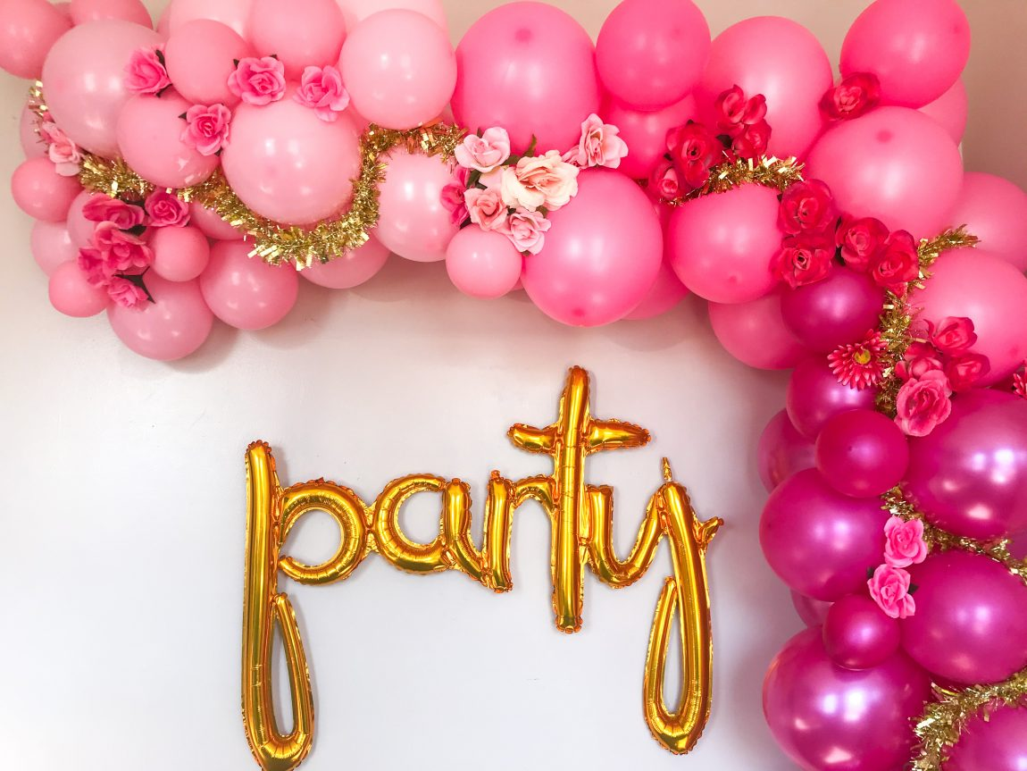 How To Make A Ombre Pink Balloon Arch With Flowers Pretty Colorful Life