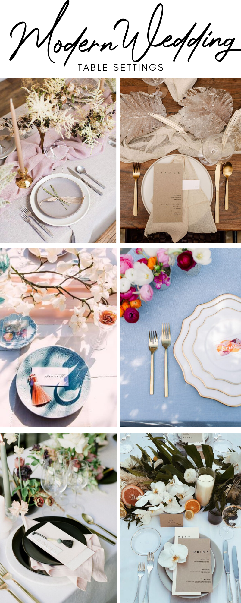 Modern Wedding Table Settings