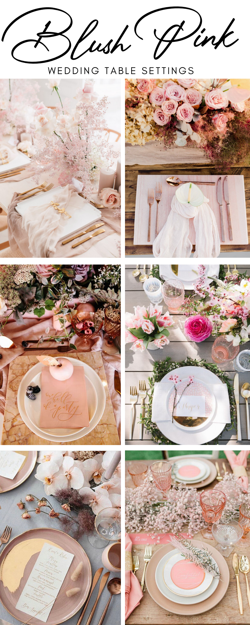 blush pink wedding table settings