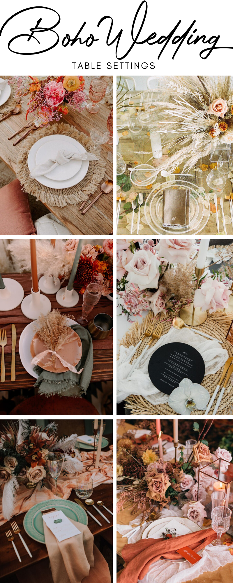 Boho Wedding Table Settings